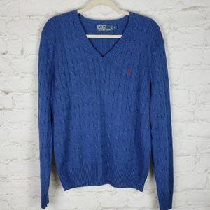 Polo by Ralph Lauren Tussah Silk Cable Knit sz L